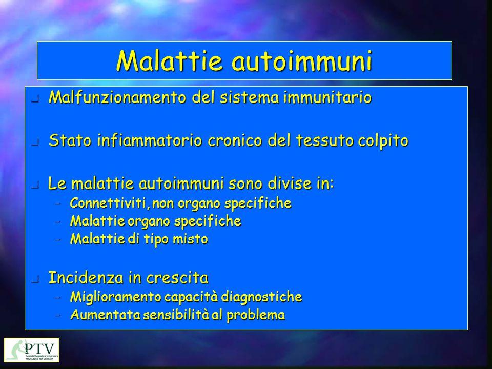 Malattie autoimmuni n Malfunzionamento del sistema immunitario n Stato infiammatorio cronico del tessuto colpito n Le malattie autoimmuni sono divise