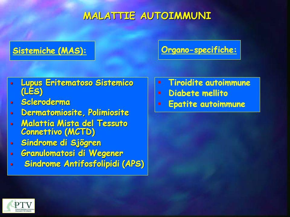 MALATTIE AUTOIMMUNI  Lupus Eritematoso Sistemico (LES)  Scleroderma  Dermatomiosite, Polimiosite  Malattia Mista del Tessuto Connettivo (MCTD)  S