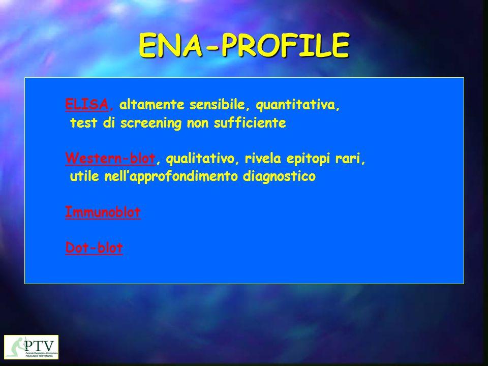 ENA-PROFILE  ELISA, altamente sensibile, quantitativa, test di screening non sufficiente  Western-blot, qualitativo, rivela epitopi rari, utile nell