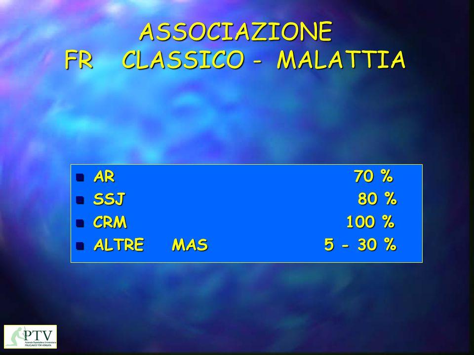 ASSOCIAZIONE FR CLASSICO - MALATTIA n AR 70 % n SSJ 80 % n CRM 100 % n ALTRE MAS 5 - 30 %