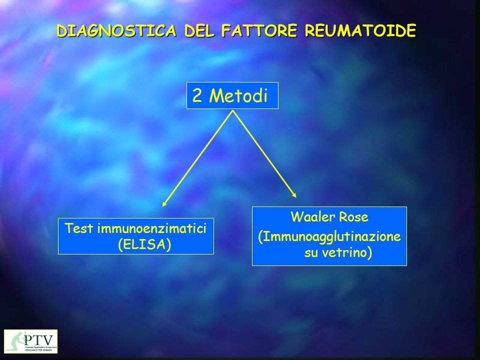 DIAGNOSTICA DEL FATTORE REUMATOIDE 2 Metodi Test immunoenzimatici (ELISA) Waaler Rose (Immunoagglutinazione su vetrino)