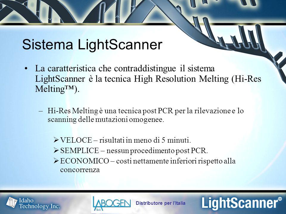 Distributore per l'Italia Sistema LightScanner La caratteristica che contraddistingue il sistema LightScanner è la tecnica High Resolution Melting (Hi-Res Melting™).
