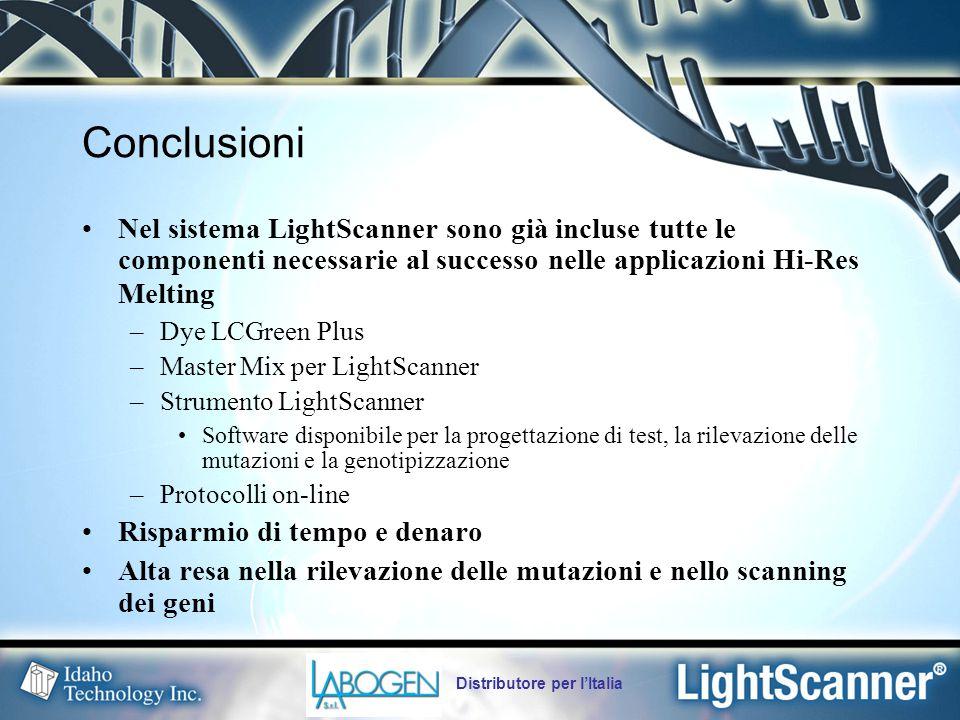 Distributore per l'Italia Conclusioni Nel sistema LightScanner sono già incluse tutte le componenti necessarie al successo nelle applicazioni Hi-Res Melting –Dye LCGreen Plus –Master Mix per LightScanner –Strumento LightScanner Software disponibile per la progettazione di test, la rilevazione delle mutazioni e la genotipizzazione –Protocolli on-line Risparmio di tempo e denaro Alta resa nella rilevazione delle mutazioni e nello scanning dei geni