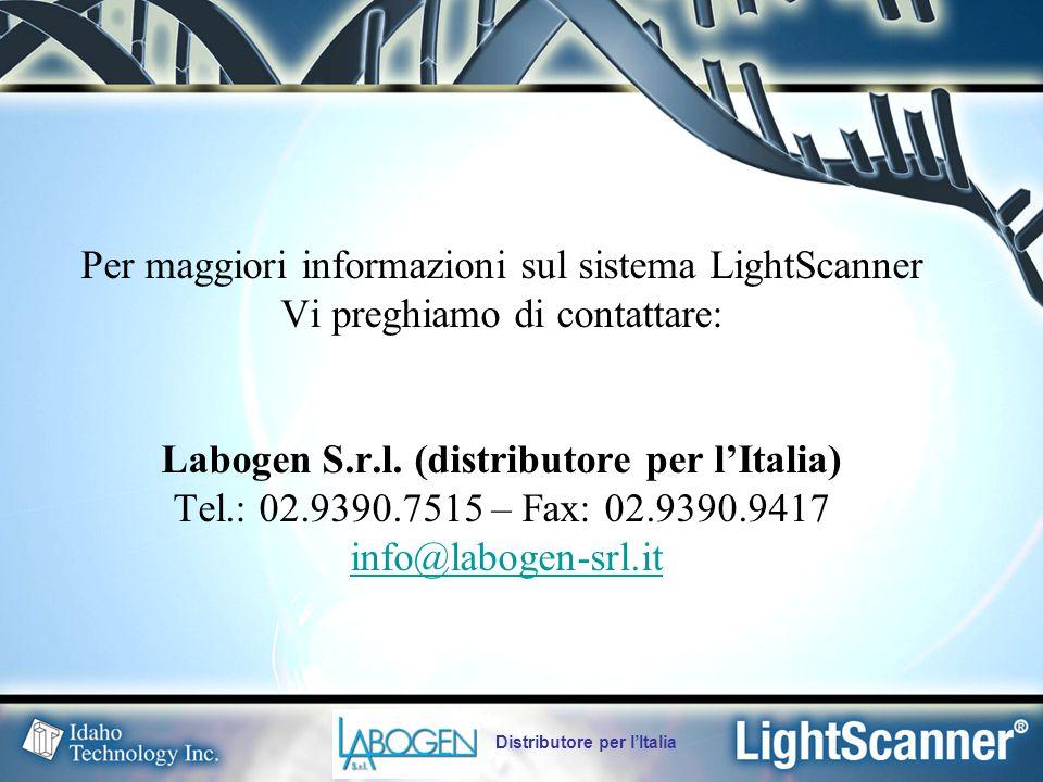 Distributore per l'Italia Per maggiori informazioni sul sistema LightScanner Vi preghiamo di contattare: Labogen S.r.l.