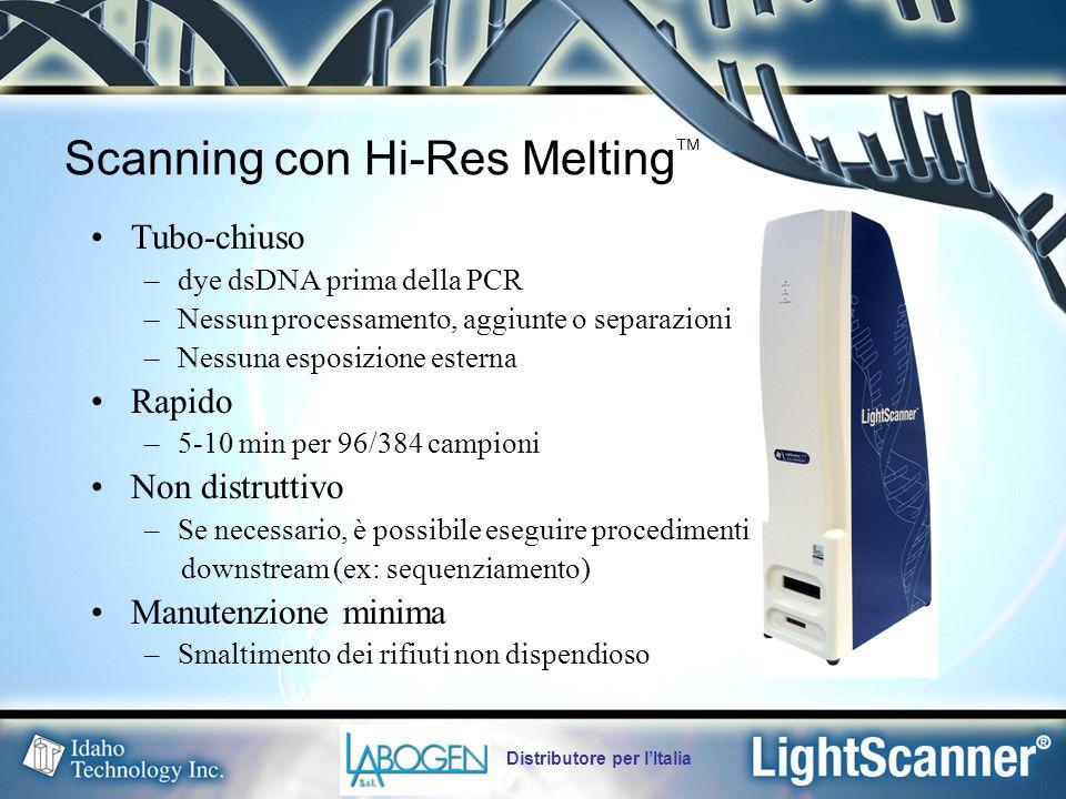 Distributore per l'Italia Scanning con Hi-Res Melting  Tubo-chiuso –dye dsDNA prima della PCR –Nessun processamento, aggiunte o separazioni –Nessuna esposizione esterna Rapido –5-10 min per 96/384 campioni Non distruttivo –Se necessario, è possibile eseguire procedimenti downstream (ex: sequenziamento) Manutenzione minima –Smaltimento dei rifiuti non dispendioso