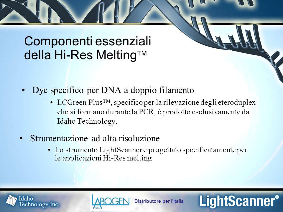 Distributore per l'Italia LCGreen Plus rileva gli eteroduplex, a differenza dei dye usati tradizionalmente per la real-time PCR (ex: SYBR Green I) Dye LCGreen ® Plus