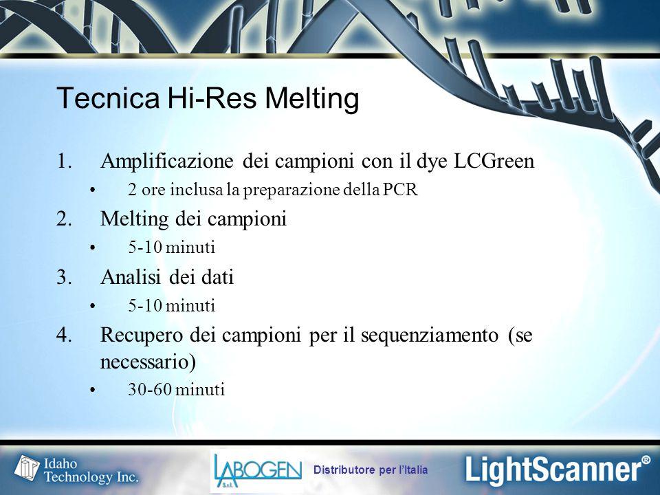 Distributore per l'Italia Tecnica Hi-Res Melting 1.Amplificazione dei campioni con il dye LCGreen 2 ore inclusa la preparazione della PCR 2.Melting dei campioni 5-10 minuti 3.Analisi dei dati 5-10 minuti 4.Recupero dei campioni per il sequenziamento (se necessario) 30-60 minuti