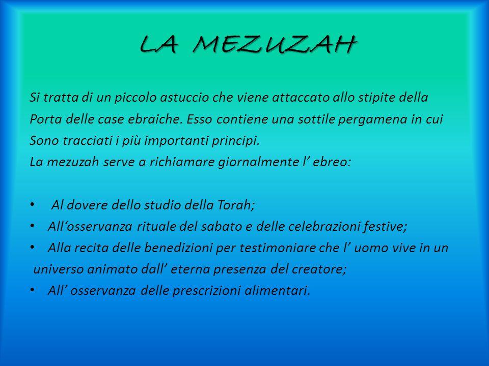 LA MEZUZAH Si tratta di un piccolo astuccio che viene attaccato allo stipite della Porta delle case ebraiche.