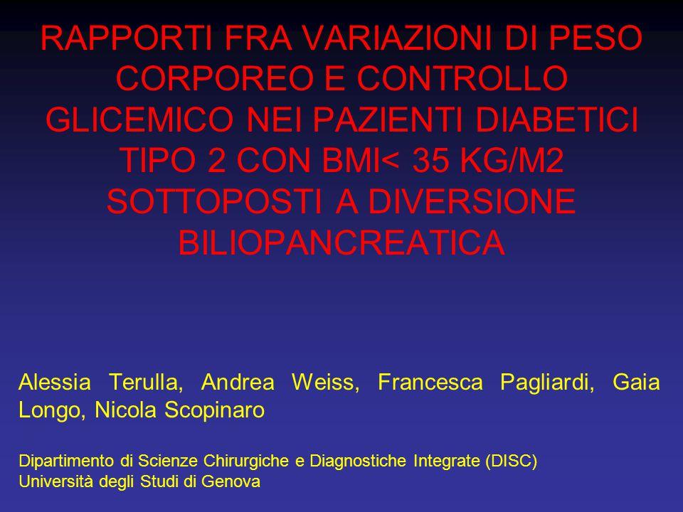 RAPPORTI FRA VARIAZIONI DI PESO CORPOREO E CONTROLLO GLICEMICO NEI PAZIENTI DIABETICI TIPO 2 CON BMI< 35 KG/M2 SOTTOPOSTI A DIVERSIONE BILIOPANCREATIC