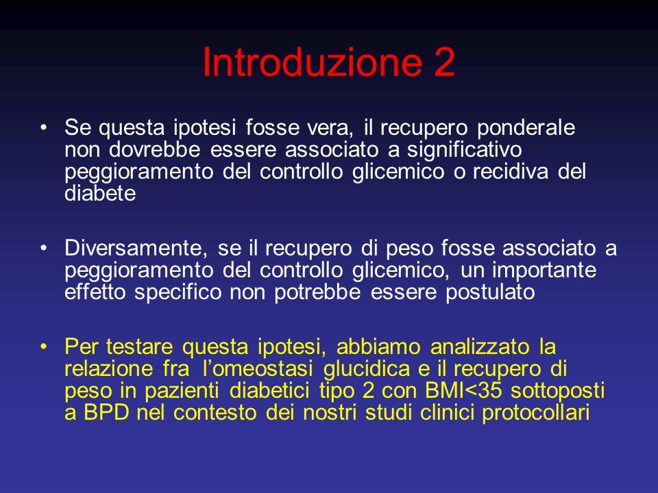 Introduzione 2 Se questa ipotesi fosse vera, il recupero ponderale non dovrebbe essere associato a significativo peggioramento del controllo glicemico