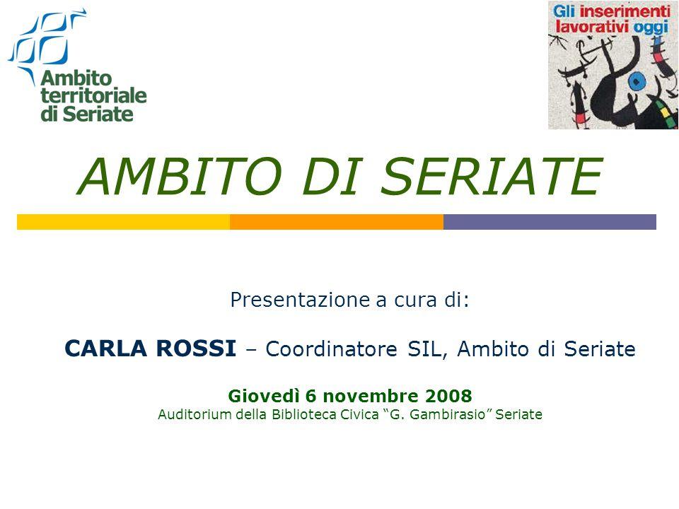 AMBITO DI SERIATE Presentazione a cura di: CARLA ROSSI – Coordinatore SIL, Ambito di Seriate Giovedì 6 novembre 2008 Auditorium della Biblioteca Civica G.