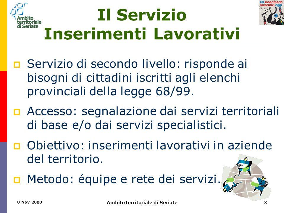 8 Nov 2008 Ambito territoriale di Seriate3 Il Servizio Inserimenti Lavorativi  Servizio di secondo livello: risponde ai bisogni di cittadini iscritti agli elenchi provinciali della legge 68/99.