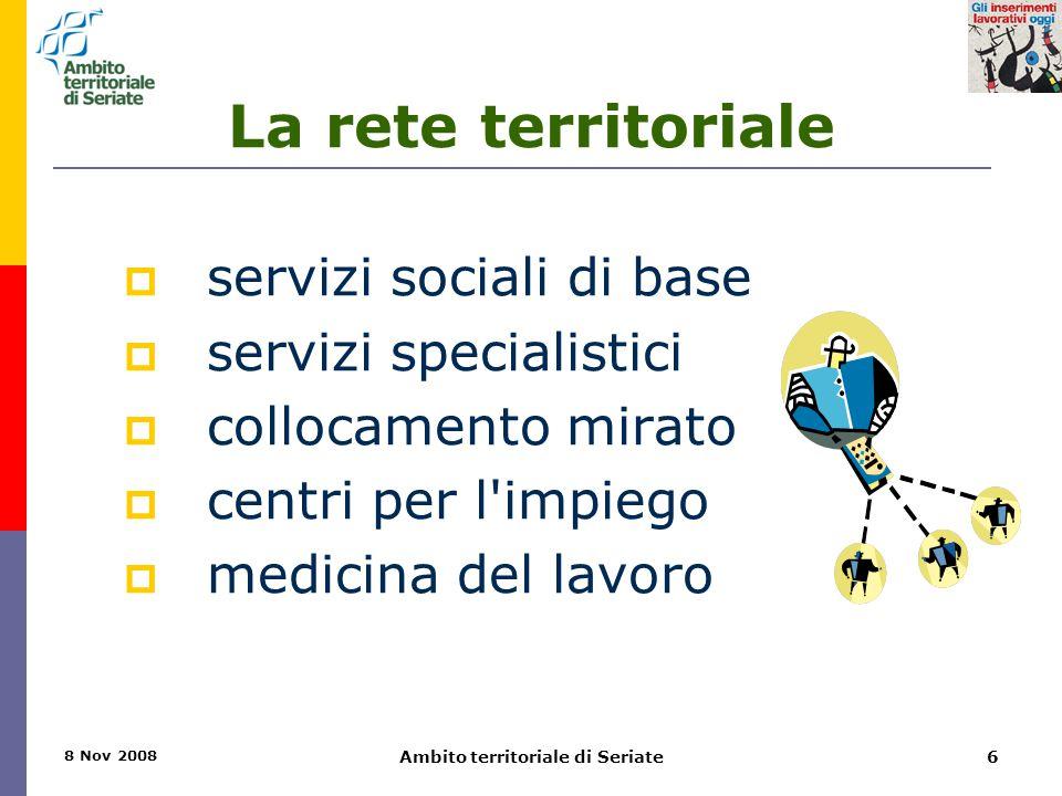 8 Nov 2008 Ambito territoriale di Seriate6 La rete territoriale  servizi sociali di base  servizi specialistici  collocamento mirato  centri per l impiego  medicina del lavoro