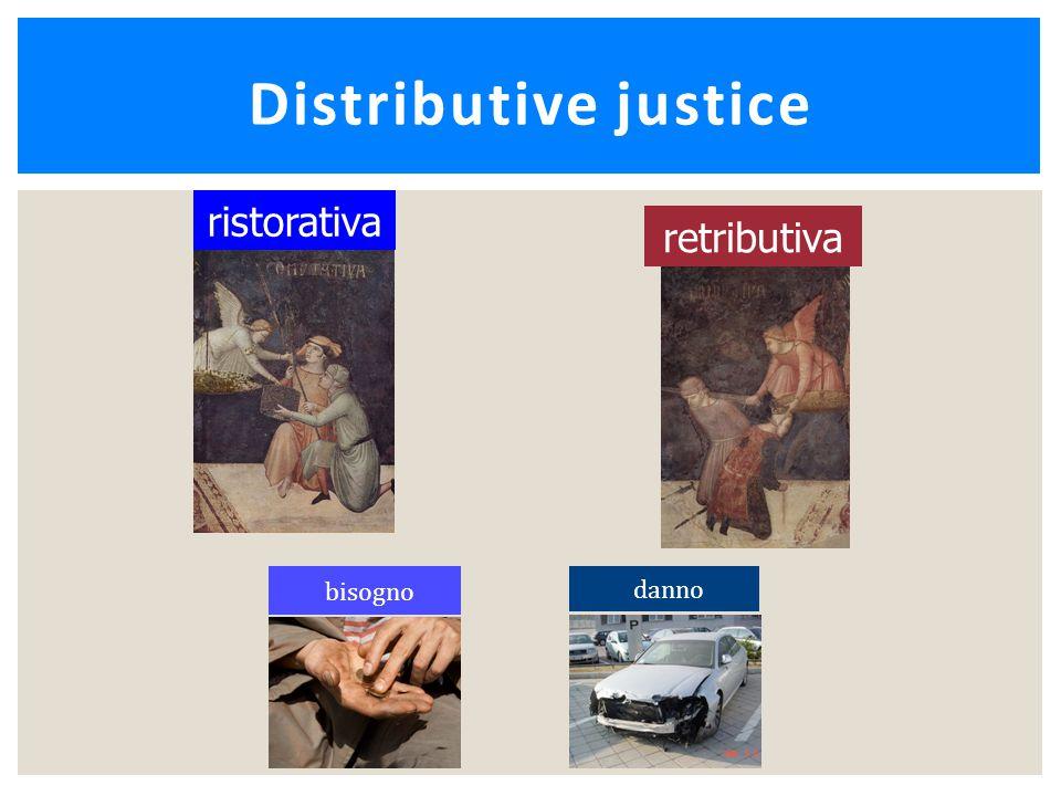 Distributive justice bisogno danno retributiva ristorativa