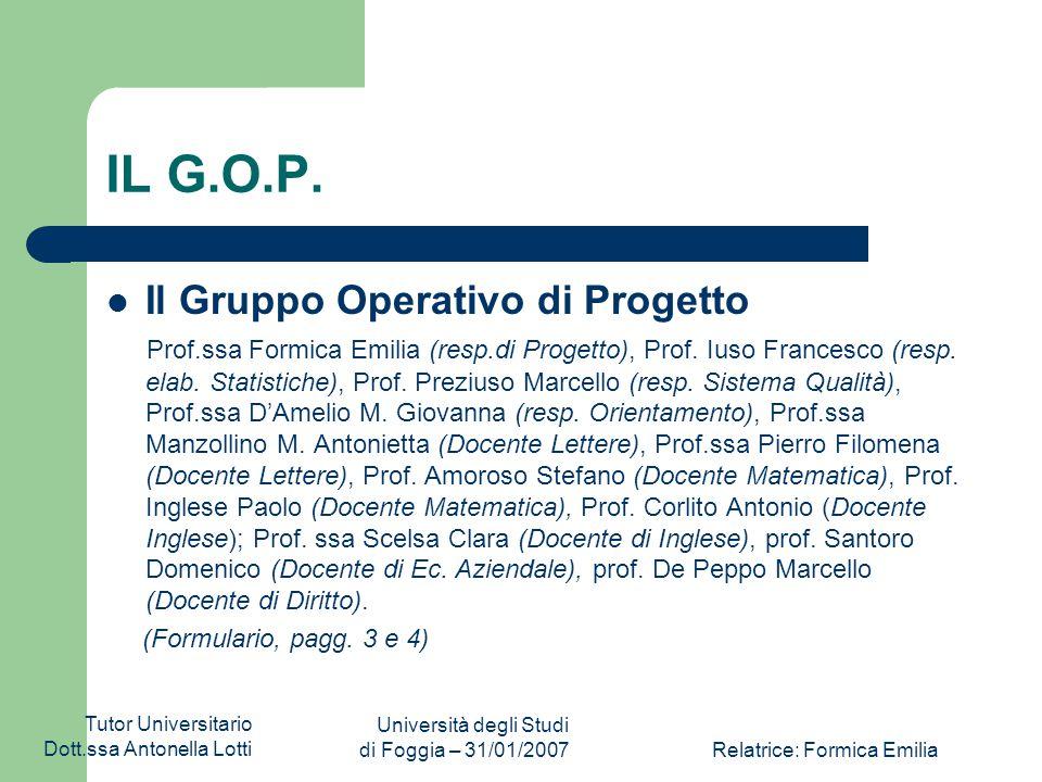 Tutor Universitario Dott.ssa Antonella Lotti Università degli Studi di Foggia – 31/01/2007Relatrice: Formica Emilia La sorpresa 6650POR06036a0301I.T.G