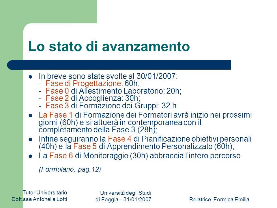 Tutor Universitario Dott.ssa Antonella Lotti Università degli Studi di Foggia – 31/01/2007Relatrice: Formica Emilia IL G.O.P. Il Gruppo Operativo di P