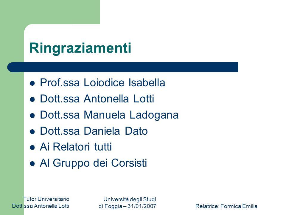 Tutor Universitario Dott.ssa Antonella Lotti Università degli Studi di Foggia – 31/01/2007Relatrice: Formica Emilia Gli esiti Il progetto, inoltre, in