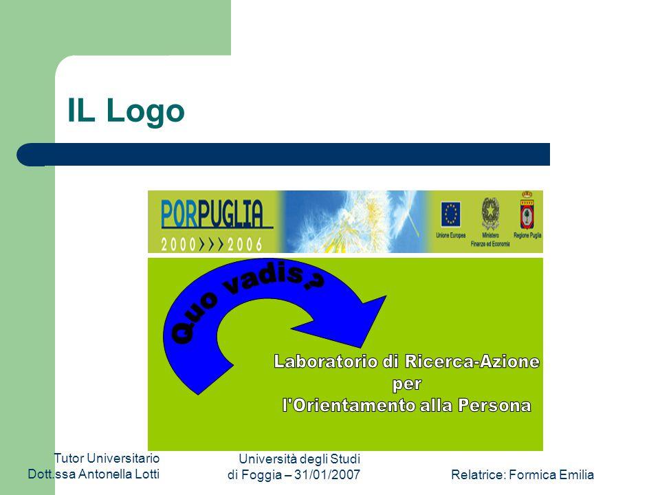 Tutor Universitario Dott.ssa Antonella Lotti Università degli Studi di Foggia – 31/01/2007Relatrice: Formica Emilia IL Logo