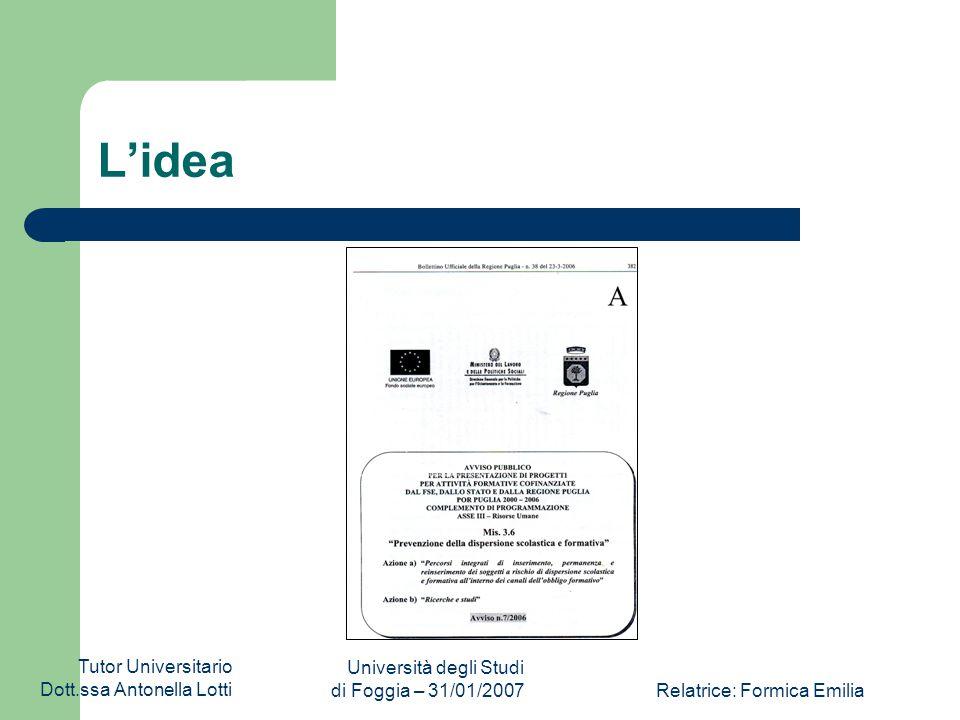 Tutor Universitario Dott.ssa Antonella Lotti Università degli Studi di Foggia – 31/01/2007Relatrice: Formica Emilia I Processi Processo di reperimento ed elaborazione dati; Processo di documentazione e conservazione dei materiali; Processo di comunicazione interna; Processo di comunicazione esterna; Processo di monitoraggio in itinere.