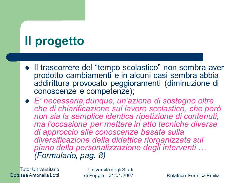 Tutor Universitario Dott.ssa Antonella Lotti Università degli Studi di Foggia – 31/01/2007Relatrice: Formica Emilia I Risultati