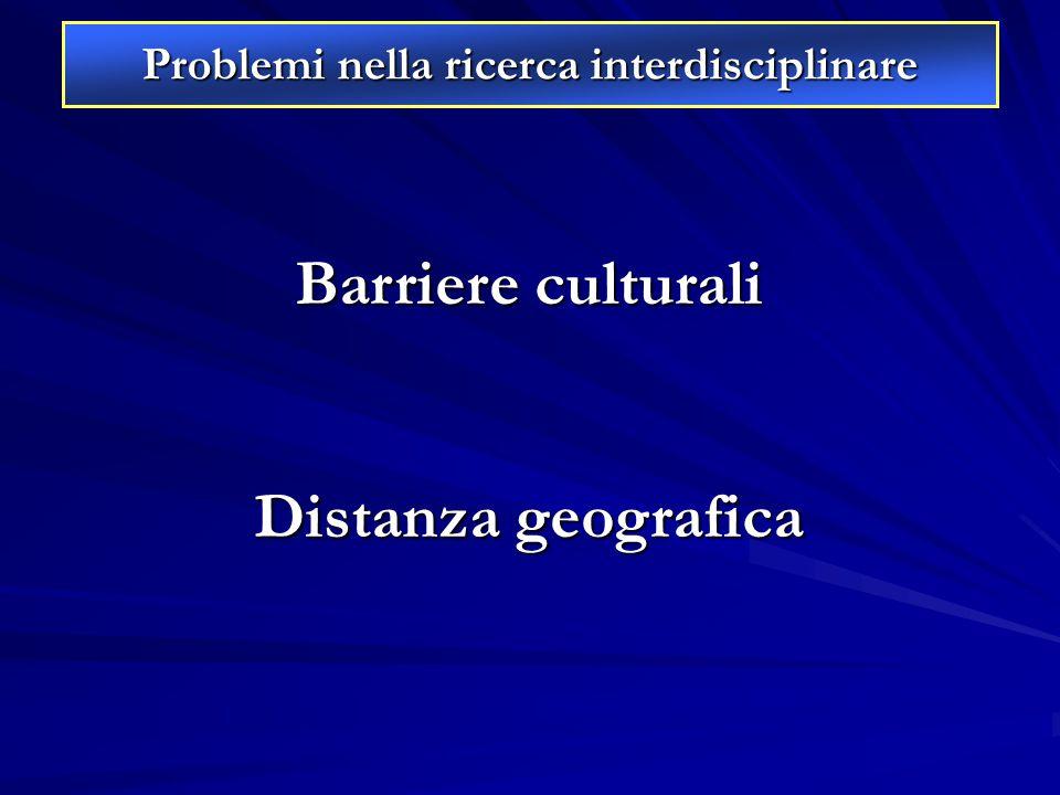 Problemi nella ricerca interdisciplinare Barriere culturali Distanza geografica