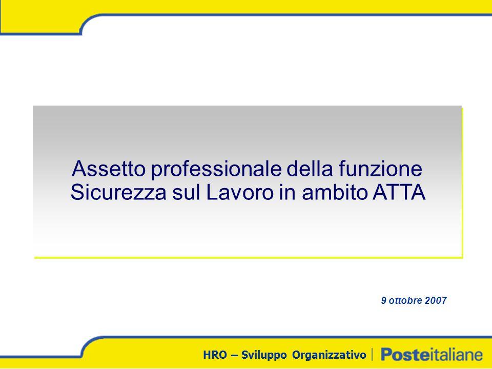HRO – Sviluppo Organizzativo Assetto professionale della funzione Sicurezza sul Lavoro in ambito ATTA 9 ottobre 2007