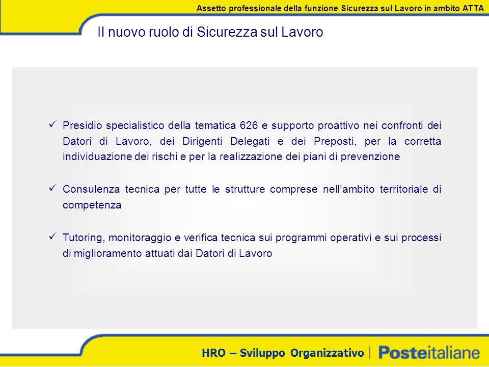 HRO – Sviluppo Organizzativo Il nuovo ruolo di Sicurezza sul Lavoro Presidio specialistico della tematica 626 e supporto proattivo nei confronti dei D