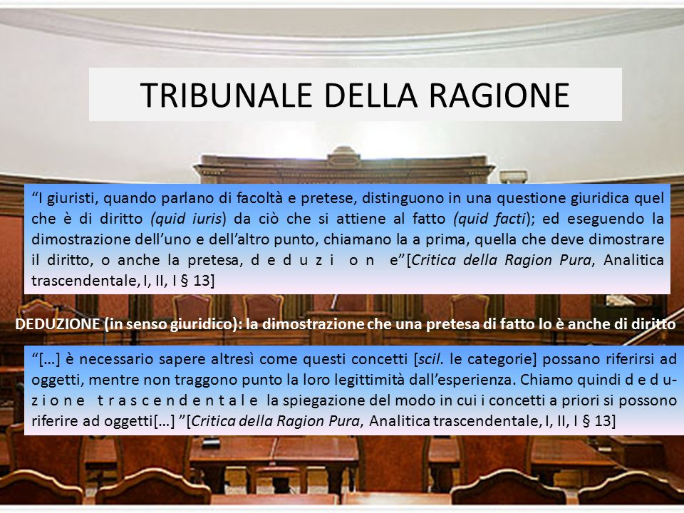 """TRIBUNALE DELLA RAGIONE """"I giuristi, quando parlano di facoltà e pretese, distinguono in una questione giuridica quel che è di diritto (quid iuris) da"""