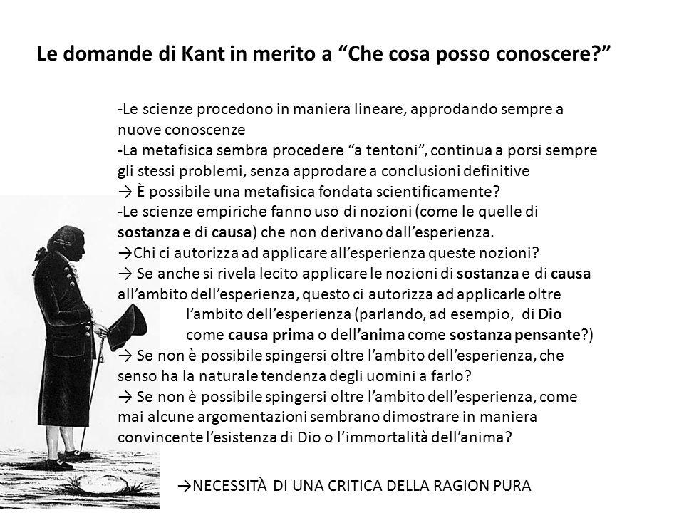 """Le domande di Kant in merito a """"Che cosa posso conoscere?"""" -Le scienze procedono in maniera lineare, approdando sempre a nuove conoscenze -La metafisi"""