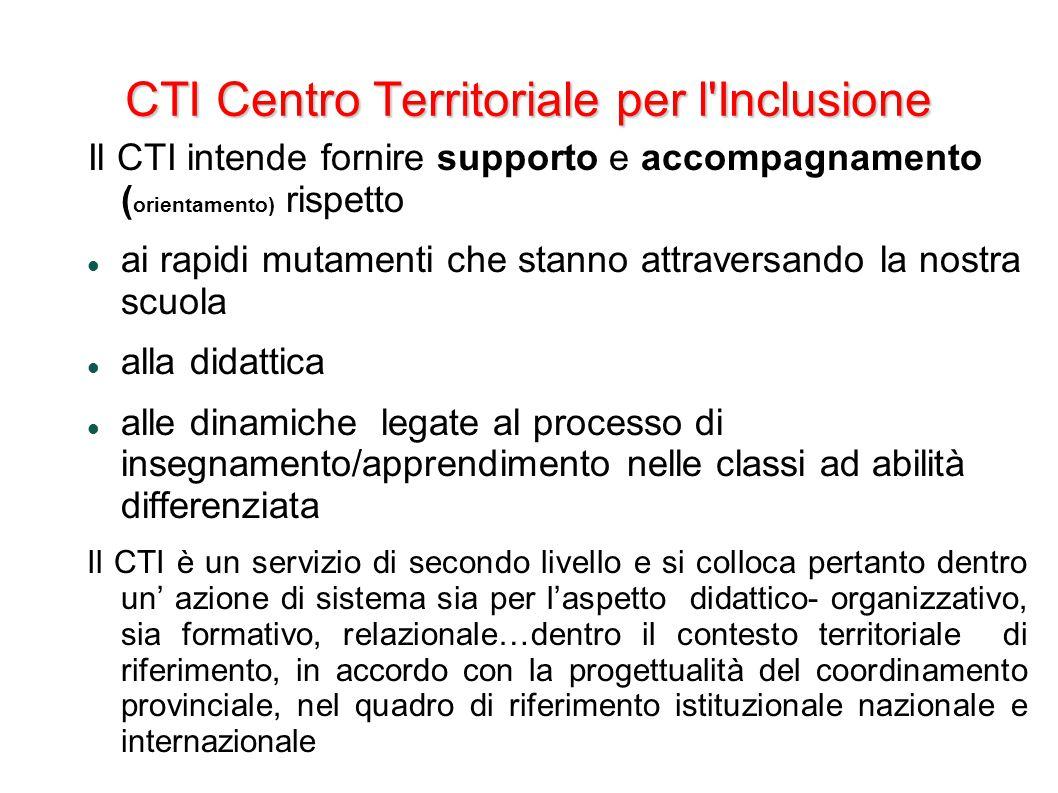 CTI Centro Territoriale per l'Inclusione Il CTI intende fornire supporto e accompagnamento ( orientamento) rispetto ai rapidi mutamenti che stanno att