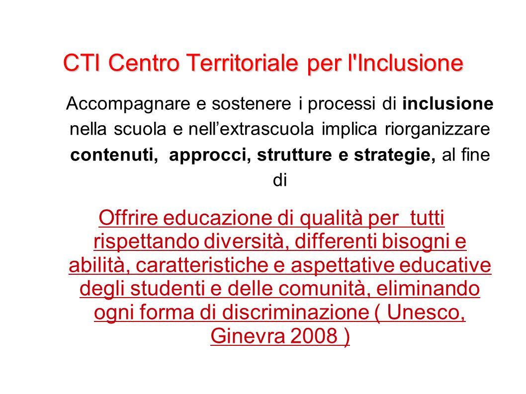 CTI Centro Territoriale per l'Inclusione Accompagnare e sostenere i processi di inclusione nella scuola e nell'extrascuola implica riorganizzare conte