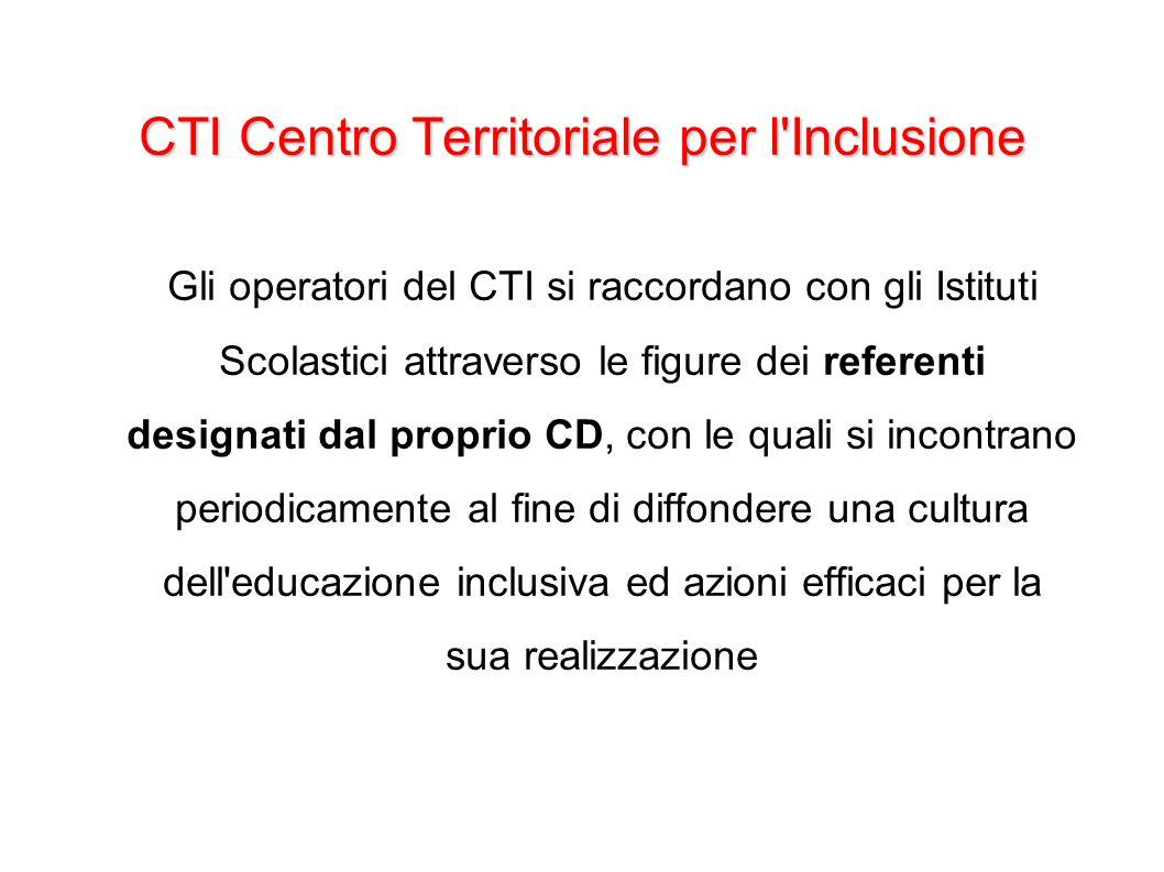 CTI Centro Territoriale per l'Inclusione Gli operatori del CTI si raccordano con gli Istituti Scolastici attraverso le figure dei referenti designati