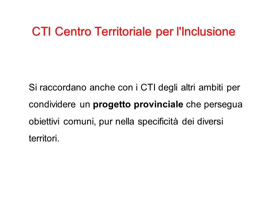 CTI Centro Territoriale per l'Inclusione Si raccordano anche con i CTI degli altri ambiti per condividere un progetto provinciale che persegua obietti