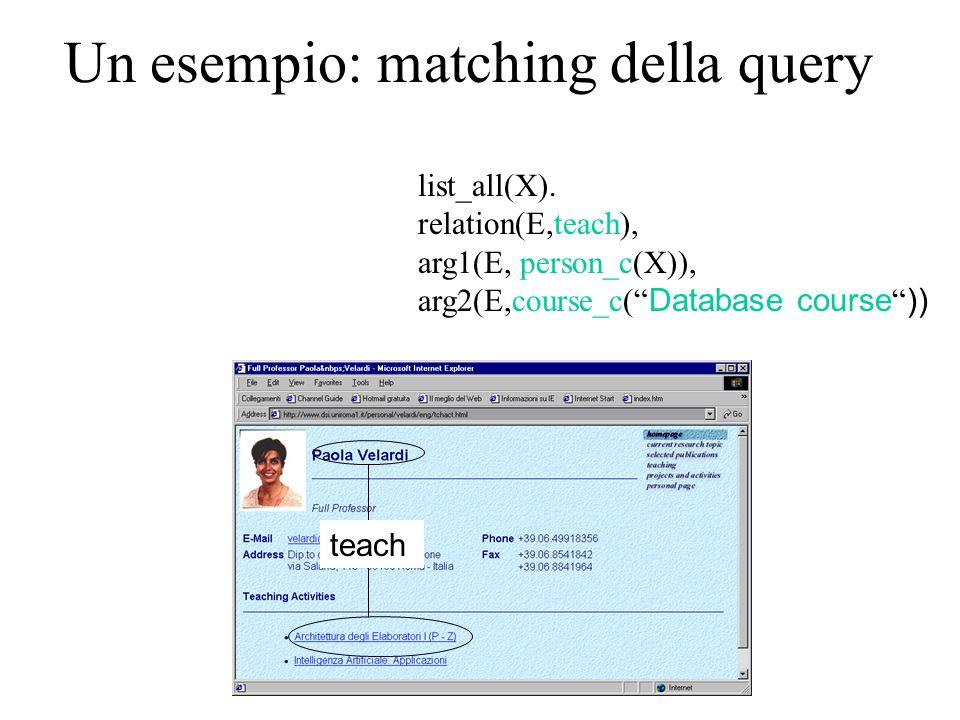 "Un esempio: matching della query list_all(X). relation(E,teach), arg1(E, person_c(X)), arg2(E,course_c("" Database course "" )) teach"