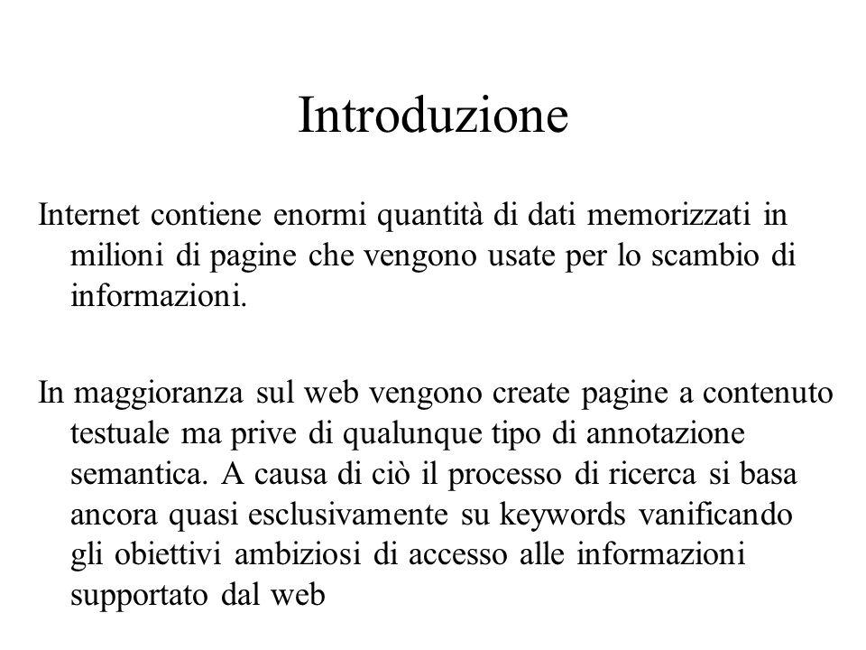 Introduzione Internet contiene enormi quantità di dati memorizzati in milioni di pagine che vengono usate per lo scambio di informazioni.