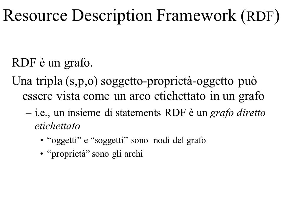 Resource Description Framework ( RDF ) RDF è un grafo.