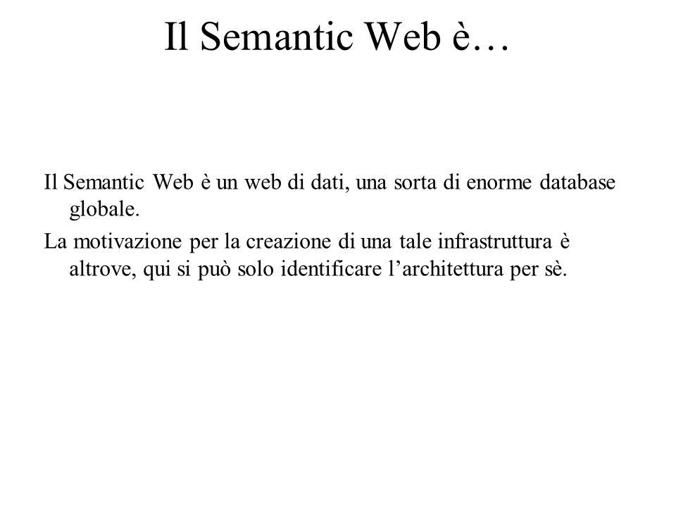Il Semantic Web è… Il Semantic Web è un web di dati, una sorta di enorme database globale.