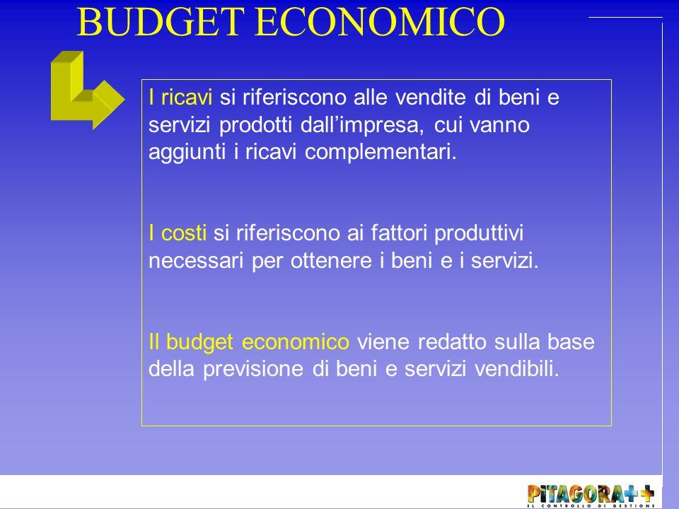 BUDGET ECONOMICO Analisi AmbientaleContabilità GeneraleContabilità Analitica Marketing Budget Ricavi Budget Costi Budget Economico