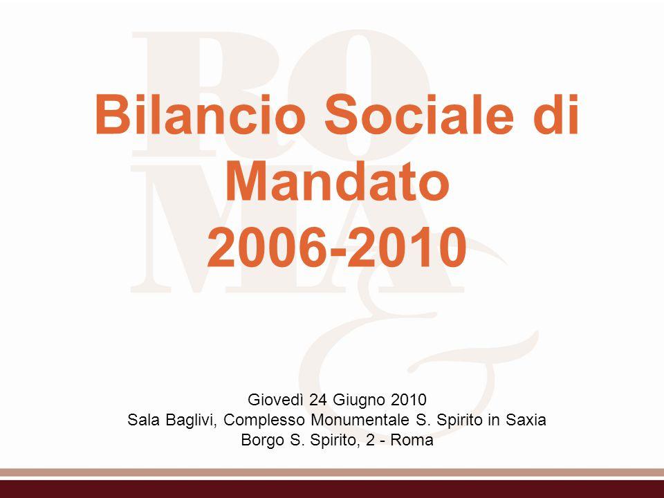 Bilancio Sociale di Mandato 2006-2010 Giovedì 24 Giugno 2010 Sala Baglivi, Complesso Monumentale S.