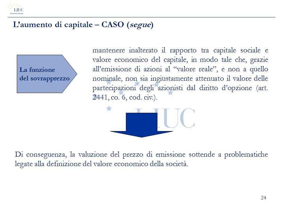 24 L'aumento di capitale – CASO (segue) La funzione del sovrapprezzo mantenere inalterato il rapporto tra capitale sociale e valore economico del capi