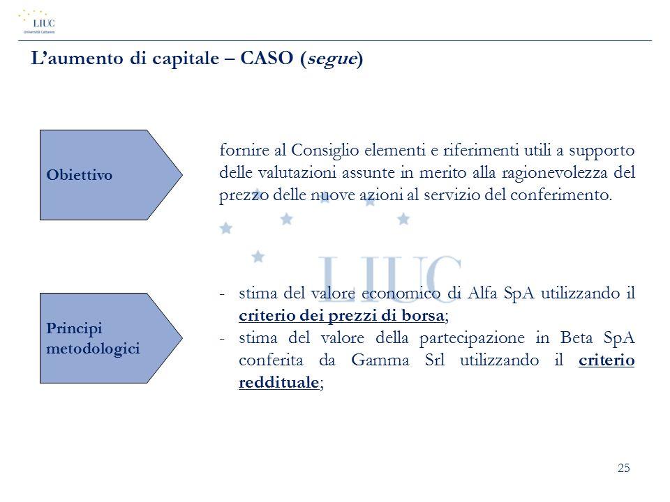 25 L'aumento di capitale – CASO (segue) Obiettivo fornire al Consiglio elementi e riferimenti utili a supporto delle valutazioni assunte in merito all