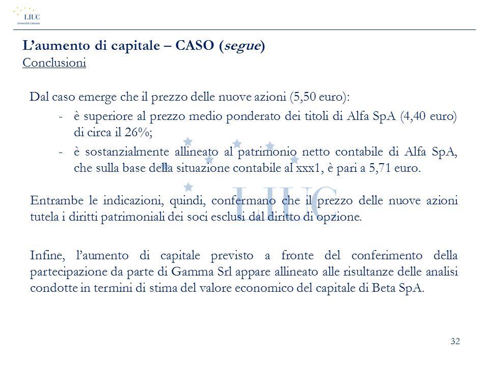 32 Dal caso emerge che il prezzo delle nuove azioni (5,50 euro): -è superiore al prezzo medio ponderato dei titoli di Alfa SpA (4,40 euro) di circa il