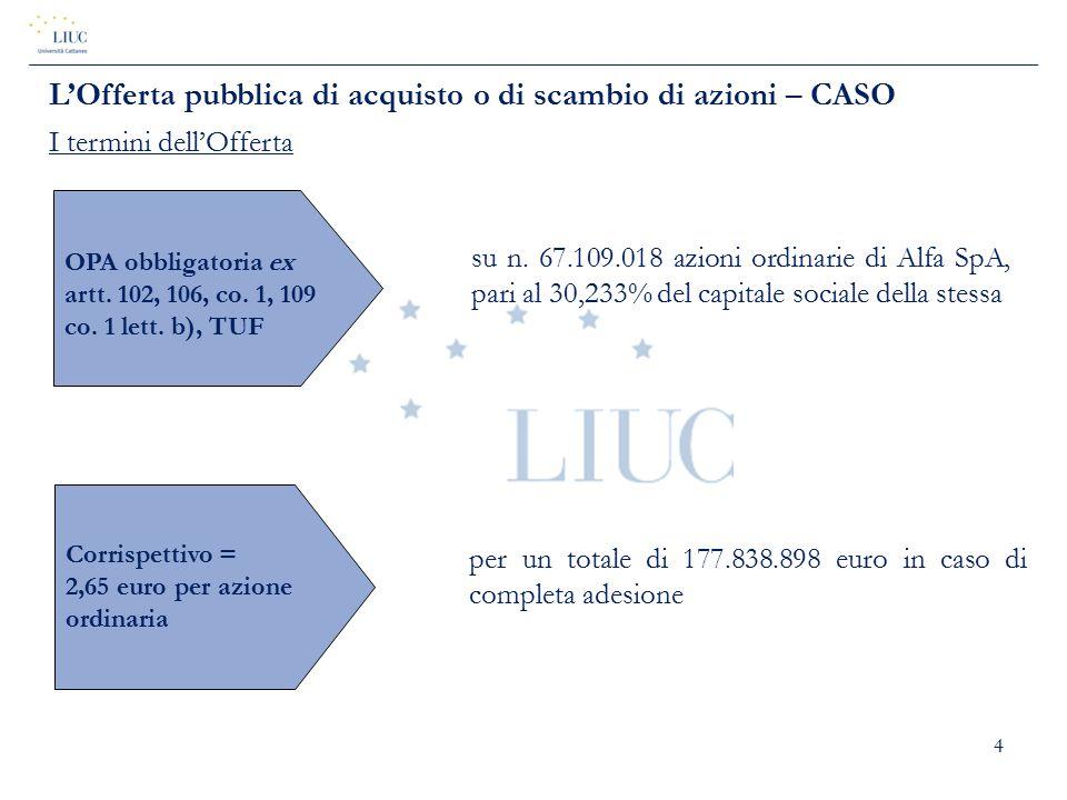 4 su n. 67.109.018 azioni ordinarie di Alfa SpA, pari al 30,233% del capitale sociale della stessa OPA obbligatoria ex artt. 102, 106, co. 1, 109 co.