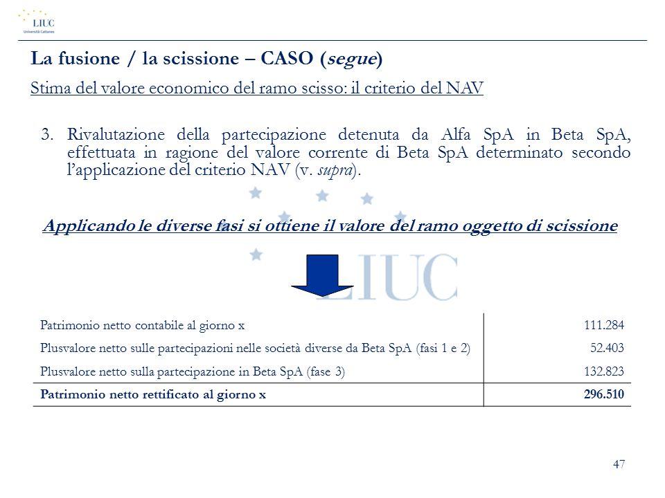 47 3.Rivalutazione della partecipazione detenuta da Alfa SpA in Beta SpA, effettuata in ragione del valore corrente di Beta SpA determinato secondo l'
