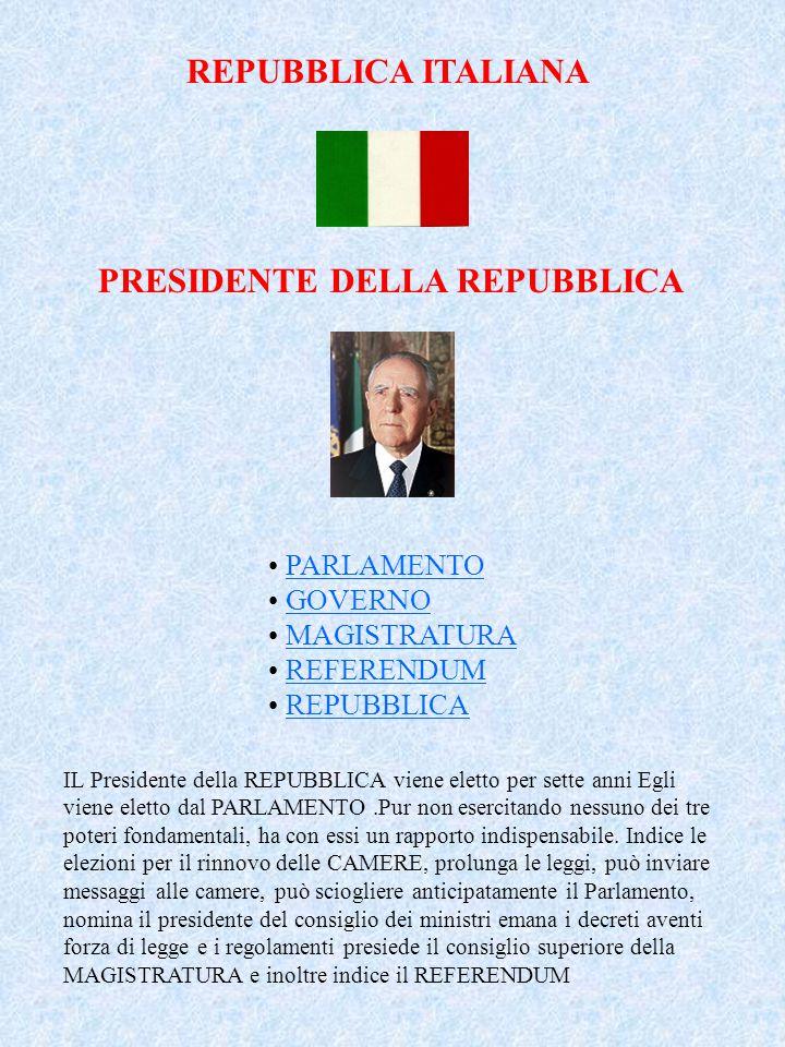 REPUBBLICA ITALIANA PRESIDENTE DELLA REPUBBLICA PARLAMENTO GOVERNO MAGISTRATURA REFERENDUM REPUBBLICA IL Presidente della REPUBBLICA viene eletto per