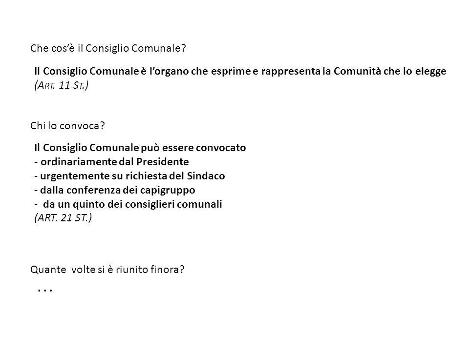 Il Consiglio Comunale è l'organo che esprime e rappresenta la Comunità che lo elegge (A RT.