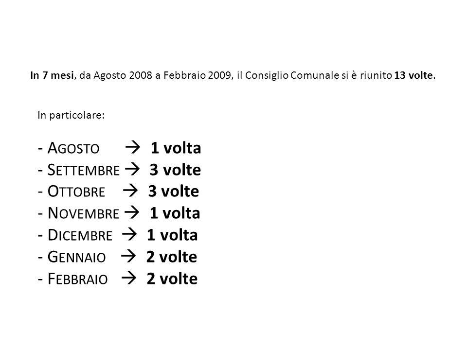 In 7 mesi, da Agosto 2008 a Febbraio 2009, il Consiglio Comunale si è riunito 13 volte.