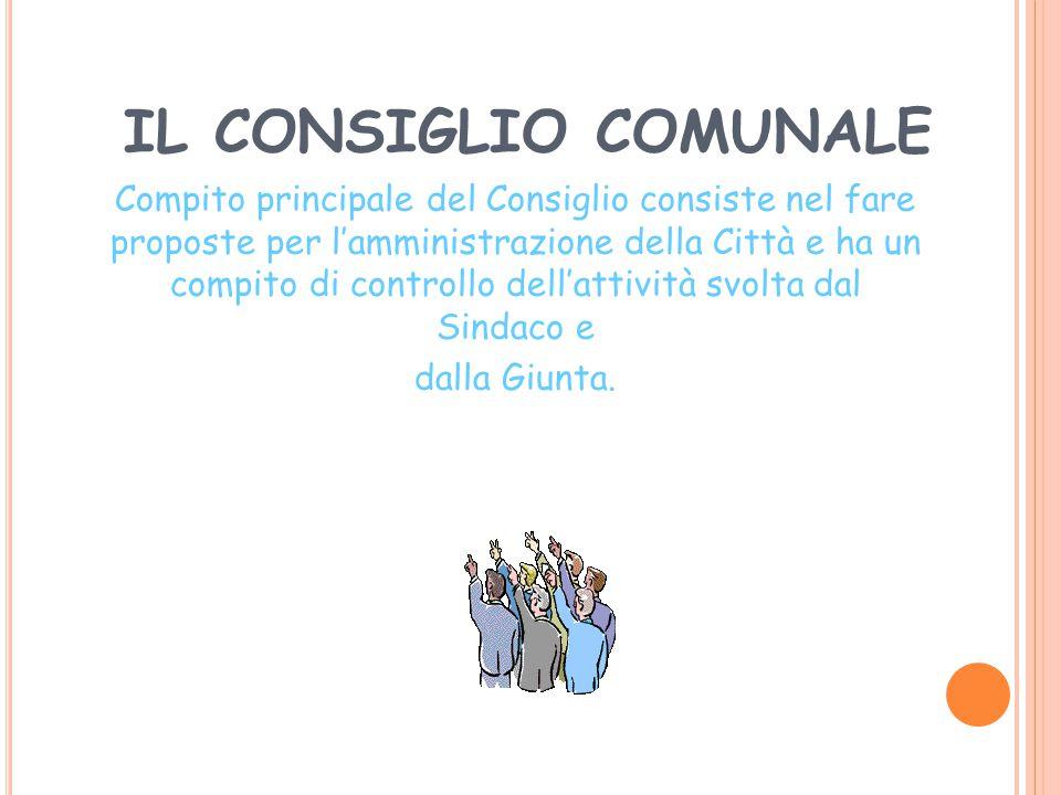 IL CONSIGLIO COMUNALE E' il massimo organo istituzionale del Comune. E' l'insieme di tutti i rappresentanti eletti direttamente nelle votazioni per il