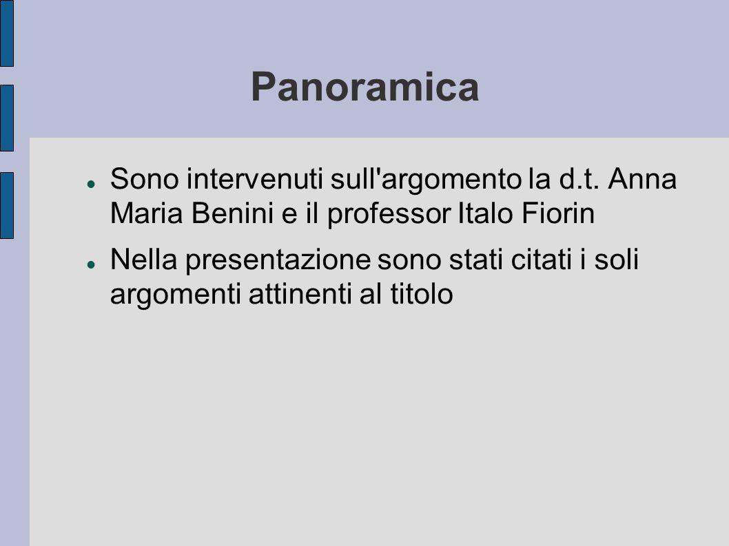 Panoramica Sono intervenuti sull'argomento la d.t. Anna Maria Benini e il professor Italo Fiorin Nella presentazione sono stati citati i soli argoment