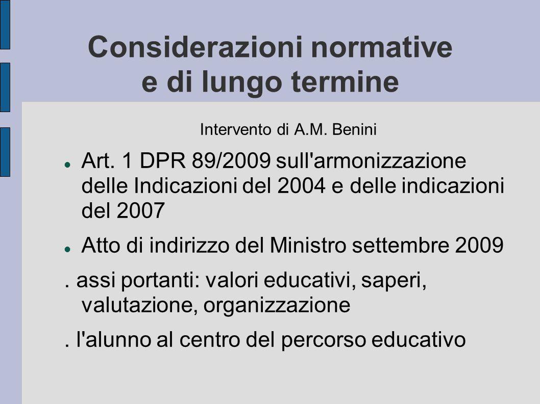 Considerazioni normative e di lungo termine Intervento di A.M. Benini Art. 1 DPR 89/2009 sull'armonizzazione delle Indicazioni del 2004 e delle indica